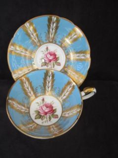 Blue Dore Gold Gilded Victorian Quill Plume Panels Paragon Cup Saucer