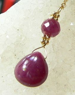 Genuine Natural Untreated Burmese Ruby Briolette 14k Gold Pendant