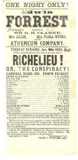 GREAT AMERICAN ACTOR EDWIN FORREST 1869 RICHELIEU BROADSIDE*
