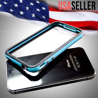 Black Blue Hard Bumper Case Cover W Metal Buttons For Apple iPhone 4 S