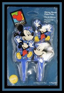 NEW! Wilton ***MICKEY MOUSE Cake Picks*** 12 ct NIP #3600