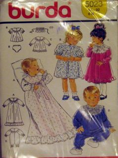 burda sewing pattern BABY Christening gown dress panties rompers 6mo