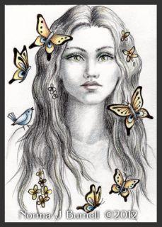 Original ACEO Fansasy Sketch Art Card Fairy & Butterflies Fairies