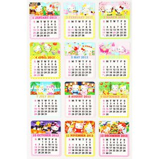new Hello kitty 2013 Sticker Calendar mini rare sanrio from japan