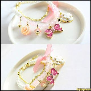 Fashion Rose Camellia Flower Butterfly Pearl Bracelet