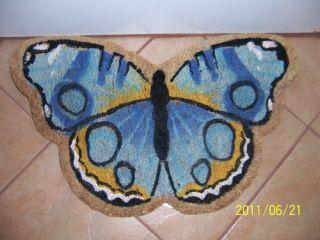 Butterfly Welcome Door Mat Blue Home Decor
