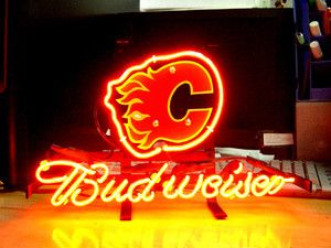 CALGARY FLAMES Hockey Budweiser Beer Bar NEON Light Sign if032