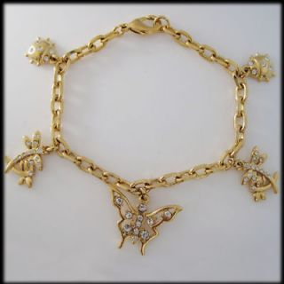 QUALITY 18K YELLOW GOLD GP SOLID FILLED BRASS BUTTERFLY CHARM BRACELET