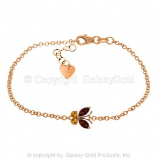 Citrine Butterfly Bracelet 14k Solid Yellow White or Rose Gold