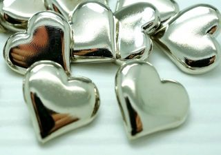 36 Silver Tone Plastic Heart Buttons~Blouse/Cardigan/Dolls/Girl