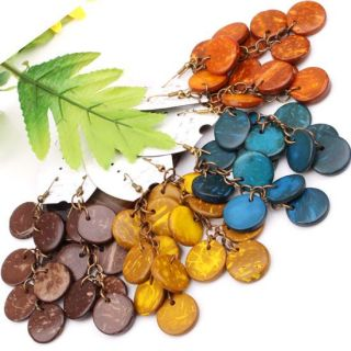 Brown Coconut Shell Coin Button Beads Dangle Earrings