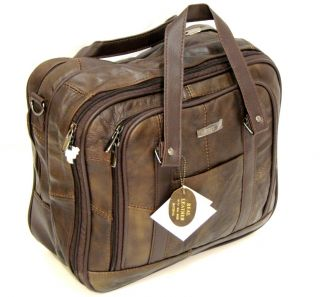 Quality LEATHER BUSINESS BAG Laptop Case Overnight Bag Travel Holdall