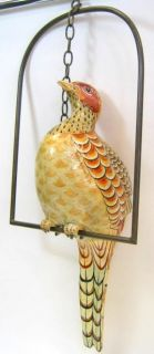 Sergio Bustamante Paper Mache Large Bird Art Sculpture Hanging Brass