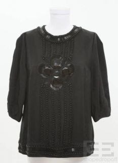 By Malene Birger Black Bead Embellished Top Size 40 New