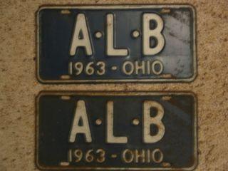 Ohio License Plate 1963 Pair License Plate Set