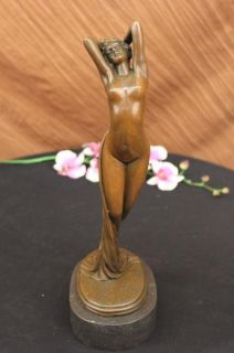 Art Deco Bronze Figure Spring Awakening After Philippe Sculpture