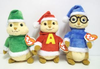 Set of 3 Ty Beanie Theodore Simon Alvin and The Chipmunks Christmas