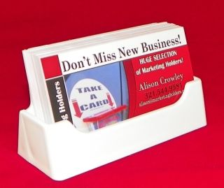 White Plastic Business Card Holder Display Stand Desk Top Made in the