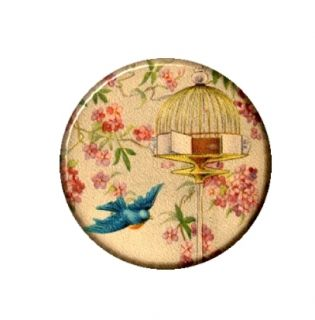Bird Flying from Cage Necklace Pendant Mirror Button Magnet Bottle