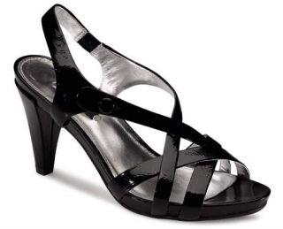 New Ecco Calvi Sandal Black Patent Ladies 39 8 $140