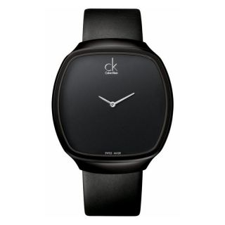 CALVIN KLEIN CK APPEAL WOMENS STAINLESS STEEL CASE BLACK LEATHER WATCH