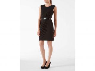Calvin Klein Womens Belted Drape Front Dress