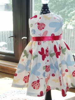 Colorful Butterfly Creamy White Doll Dress fits American Girl