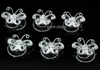 Bridal Handmade Butterfly Crystal Hair Twists P1152