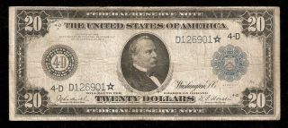 1914 $20 Twenty Dollar Federal Reserve ★star★ Note Cleveland Oh