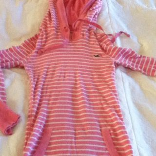 Juniors XS Hollister Pink White Striped Hoodie Shirt Top Long Sleeved