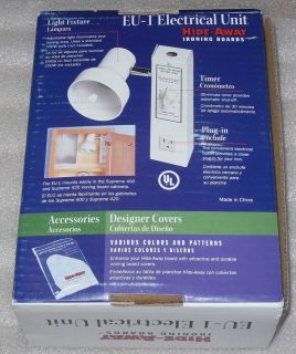 EU 1 Ironing Board Cabinet Hide Away Electrical Unit Outlet Light