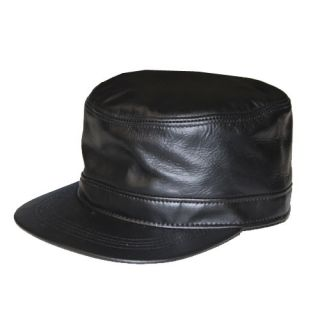 Plain Solid Color Leather Fitted Mens Military Cadet Cap