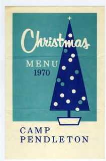 Camp Pendleton Christmas Menu 1970 United States Marine Corps