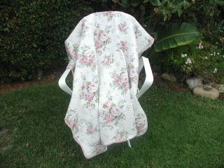 Pink Cabbage Rose Chic Roses on White So Shabby Cottage Throw