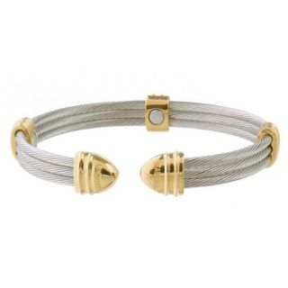 Classic Cable Stainless Steel and 18k Gold plating Magnetic Bracelet