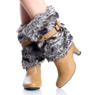 Womens Winter Boots Snow Mukluk Mid Calf Chain Camel Chunky High Heels