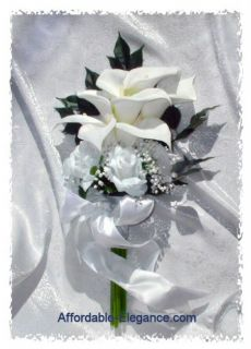 White Calla Lily Lilies Roses Bridal Bouquet Presentation Silk Wedding