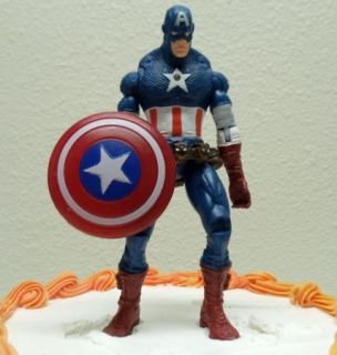 Super Hero Marvel Comic Captain America 6 Birthday Cake Topper Figure