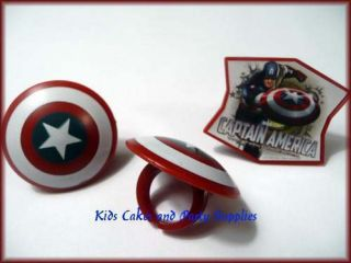 CAPTAIN AMERICA CUPCAKE RINGS Cake Toppers Favors Birthday Party