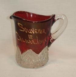 Vintage Ruby Flash Glass EAPG Creamer Calmar Iowa Souvenir