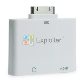 HDMI + SD Card Camera Reader Adapter Dock for iPad2/iPhone 4 4S/iPod