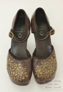 Calleen Cordero Brown Crackled Leather & Floral Embellished Mary Jane