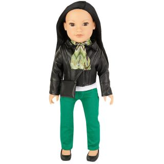 Girls 18 inch Soft Bodied Doll Callie Black Faux Leather Jacket