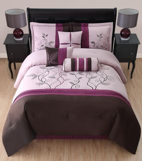 7Pcs King Candice Purple and Coffee Embroidered Comforter Set