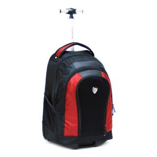 CalPak Element 18 inch Single Pole Laptop Rolling Backpack Deep Red