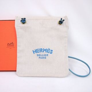 Hermes Aline PM Herringbone Canvas Pouch Calfskin Strap Shoulder
