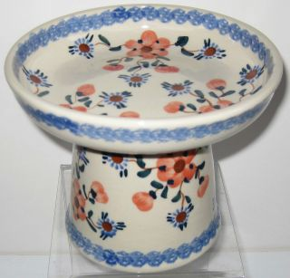 Raised Polish Pottery Classy Cat Dog Wet Canned Food Dish Bowl 68