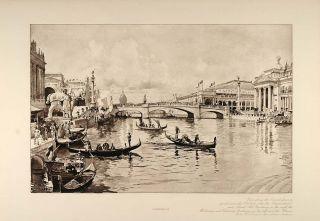 1896 Canal Gondolas White City Chicago Worlds Fair 1893   ORIGINAL