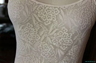 Bohemian New Pretty Delicate Ivory Sisley Italy Stretch Lace Cami Tank