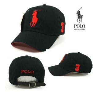 BP02 Black Cap Red Large Logo Polo Baseball Hat Golf Tennis Outdoor